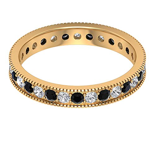 1/2 CT Black Spinel and Diamond Gold Ring, HI-SI Diamond Eternity Band Ring, 2 MM Round Cut Engagement Ring, Gold Engraved Ring, 14K Yellow Gold, Size:UK Z