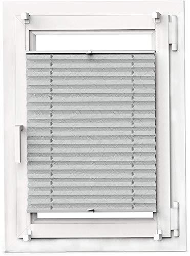 OBdeco Plissee Rollo Klemmfix ohner Bohren lichtdurchlässig Crushed Optik Faltrollo für Fenster Easyfix Grau 60x130cm