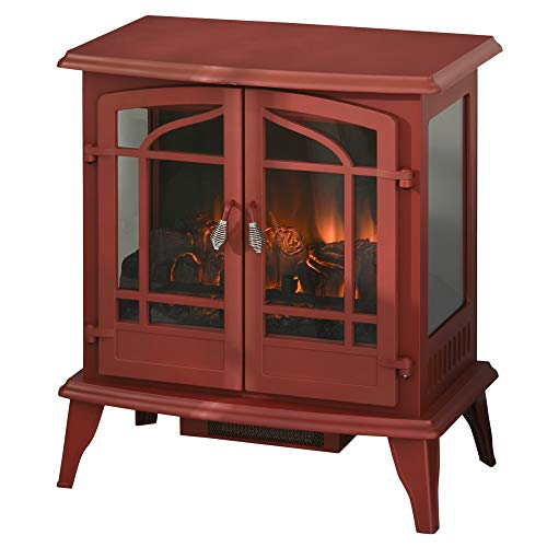HOMCOM Vintage Electric Fireplace with 2 Tempered Glass Door, LED Log Flame, Adjustable Temperature, Red
