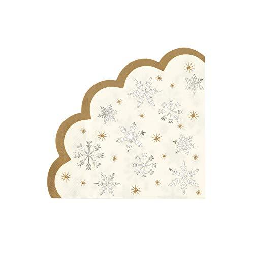 Talking Tables Stoviglie Per La Tavola Di Decorazioni Per La Festa Di Natale-Tovaglioli Di Carta A Forma Di Fiocco Di Neve, Confezione Da 16, STAR-NAPKIN-SNOWFLAKE