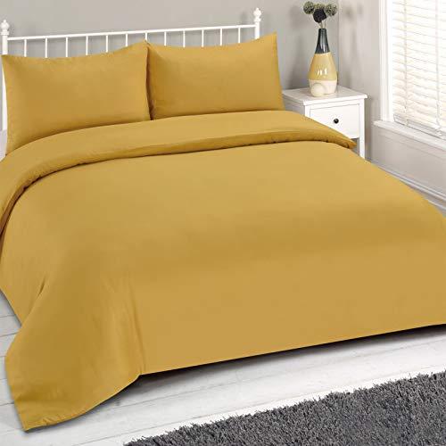 Brentfords Juego de Funda nórdica Liso, tamaño King, Color Amarillo Ocre Mostaza