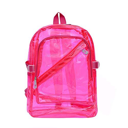 Mochila Impermeable Claro Transparente De Plástico para La Escuela De Bolsas De PVC Adolescente Hombros Bolso del Espacio Mochila para Portátil (Rosa)