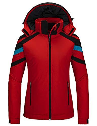 Wantdo Women's Waterproof Ski Jacket Padded Winter Coat Wind Resistant Raincoat Windbreaker Red S