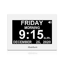 iGuerburn 8 Digital Talking Touchscreen Day Calendar Alarm Clock for Seniors Elderly Dementia Alzheimer's Memory Loss Visually Impaired Blindness (White)