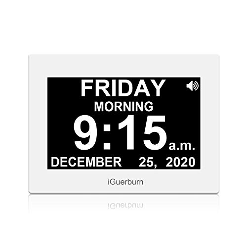 iGuerburn 8' Digital Talking Touchscreen Day Calendar Alarm Clock for Seniors Elderly Dementia Alzheimer's Memory Loss Visually Impaired Blindness (White)