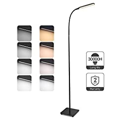 TaoTronics vloerlamp LED dimbare 10W vloerlamp voor slaapkamer in woonkamer, hoge levensduur van 30.000 uur, 4 kleurtemperaturen, 4 helderheidsniveaus, flexibele zwanenhals, zwart, TT-DL072 DE*