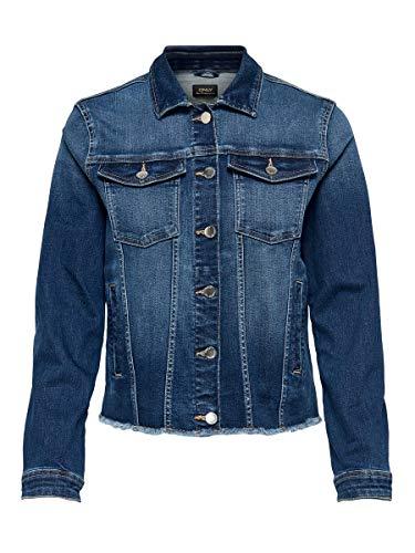 Only ONLBLUSH REG Jacket Raw Waist BB ANA2077 Chaqueta de Jean, Dark Azul Denim, 36 para Mujer