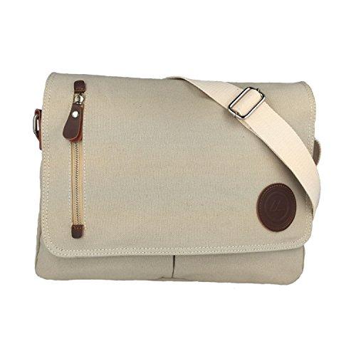 SODERBERGH Messenger Bag Umhängetasche Schultertasche Oslo Canvas Notebook bis 13', Farbe:Weiß