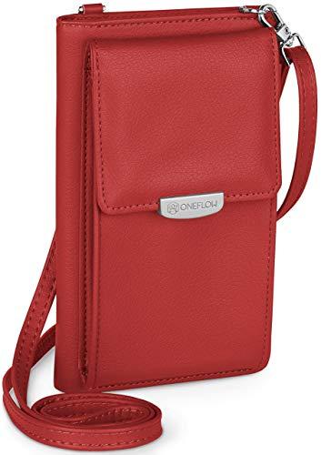 ONEFLOW Handy Umhängetasche Damen klein kompatibel mit alle UMIDIGI Handys - Handytasche zum Umhängen mit Geldbörse, Schultertasche Vegan Leder, Kirschrot