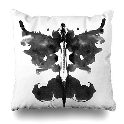 Funda de almohada de tinta acuarela psicología Rorschach prueba de manchas de tinta psiquiátrica abstracta psiquiatría cerebral esquizofrenia funda de almohada decorativa 45 x 45 cm