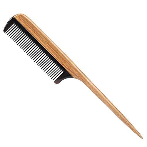 TOOGOO Hair Combs - Peigne à Queue En Bois à Fine Denture Naturelle - Pas De Peigne En Bois à Coeur Violet Statique avec Des Dents En Corne Noire