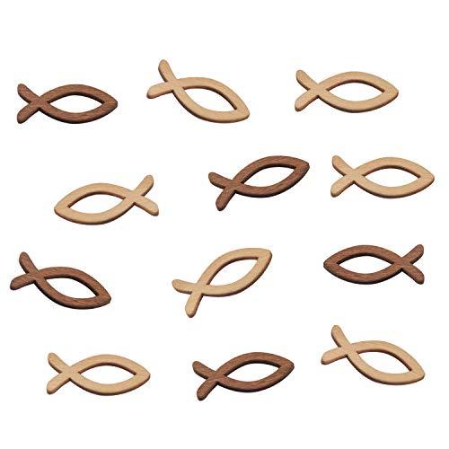 FEPITO 100 Holz Fisch Deko Fische Streudeko Tischdeko Verzierung für Taufe, Kommunion & Konfirmation - Klein 3,5cm - (2 Farben x 50 Stück)