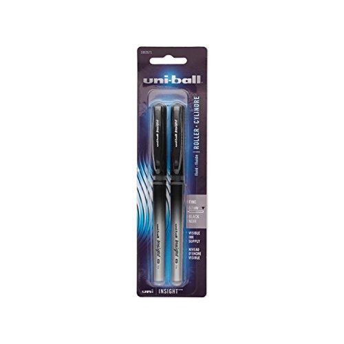 Uni-Ball Insight Stick Rollerball Pens, Medium Point, Black Ink, Pack of 2