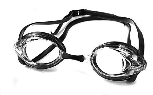 Aqua Speed Optische Schwimmbrille mit Sehstärke | Dioptrien: -1,5 bis -8,0 | Anti-Fog | super Paßform | incl 3X Nasensteg und Stabiler Box, Größe:-3.0, Modell:Vision Jr. / schwarz/ungetönt