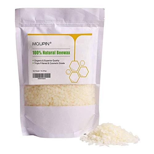 MQUPIN Granulés de cire d'abeille Premium Naturel Pure - Cosmétique Grade Triple filtrée Cire d'abeille pour DIY Bougies/Baume à lèvres/soins de la peau - 0,5 kilogram blanc (White)