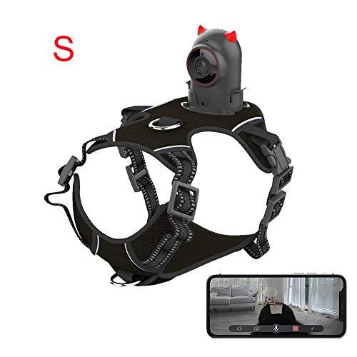 Hundekamera 1080p Echtzeit-Streaming von HD-Video-WLAN-Haustierkamera mit 2-Wege-Audio, Social-Media-Sharing, Nachtsicht und direktem Speichern von Videos und Fotos auf dem Telefon, Größe: S