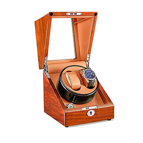 zyy Caja de Relojes Automaticos Estuche para 2 Relojes 5 Velocidades Almohadilla Desmontable Silenciosa Caja de Almacenamiento Puerta Delantera Transprente Mecánicos Caja Bobinadora