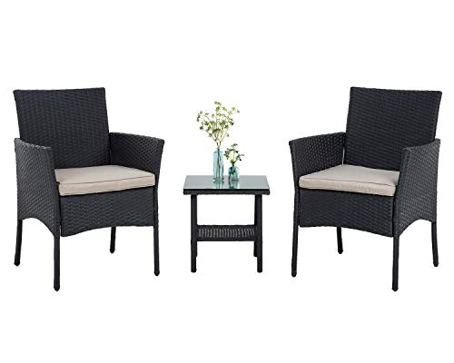 PayLessHere 3 Piece Furniture Patio Chairs Wicker Outdoor Rattan Conversation Bistro Set for Backyard Porch Poolside Lawn,Black