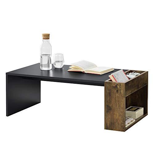 [en.casa] Tavolino da caffè/da Divano con Contenitore e Ripiano Laterali 34 x 95 x 50 cm Tavolo Basso da Salotto/Soggiorno in Forma Rettangolare - Nero/Rovere Scuro