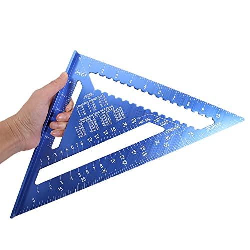Mijpojan Herramientas de mano de Aleación de aluminio de 12 pulgadas de aleación de aluminio Triangular Regla de medición de ángulo Protractor