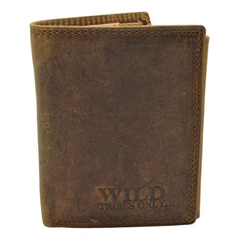 Vintage Wildleder Geldbörse Voll Leder Herren Portemonnaie Hochformat RFID Safe mit Maxi Münzfach