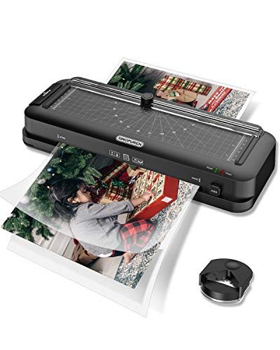 Laminator Machine, Sinopuren Thermal Laminator, Personal 6-in-1 Desktop A4 Laminating Machine Built-in Paper Trimmer Punch and Corner Rounder with 10 Pouches Sheets for Home Office School - Black