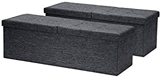 Otto & Ben [2pc Set Folding Toy Box Chest with Smart Lift Top Linen Fabric Ottomans Bench Foot Rest for Bedroom and Living...