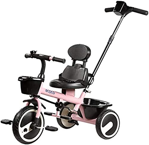 Kinder Dreirad fürrad 2-5 Jahre Alt Leichte Kinderwagen Jungen Und mädchen Training fürrad Mit Kindersicherung Push Bar,Rosa_A
