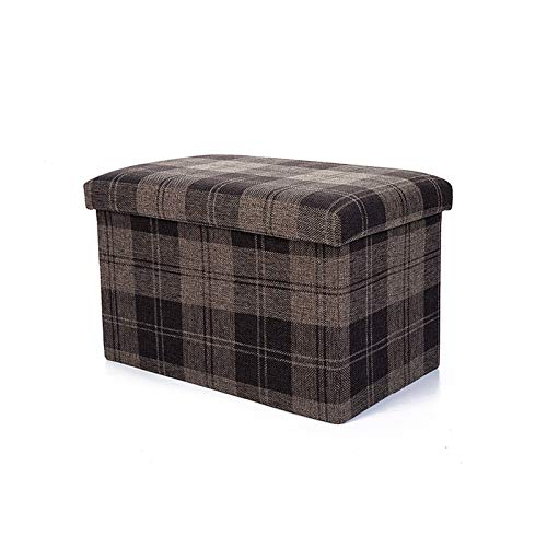 Folding Footrest, Portable Compact Lightweight Square Change Shoes Stool Foldable Comfortable Fabric Foot Stool (Color : Brown, Size : 22l)