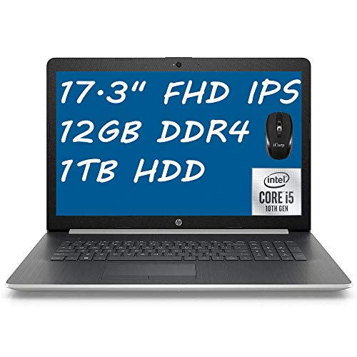 2020 Flagship HP 17 Laptop Computer 17.3' Full HD IPS Display 10th Gen Intel Quad-Core i5-1035G1 (Beats i7-8550U) 12GB DDR4 1TB HDD DVD Backlit KB WiFi HDMI Webcam Win 10 + iCarp Wireless Mouse