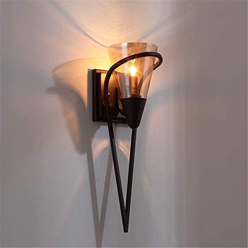 Lámparas de pared industriales, Luz de pared interior rústico simple escaleras de la cama decoración del hogar decoración de la casa diseño creativo cono diseño negro labrado hierro de vidrio lámpara