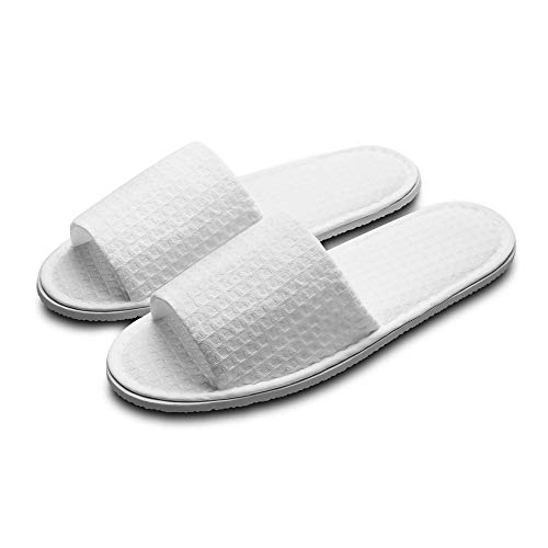 Echoapple Waffle Open Toe White Slippers-Two Size Fit Most Men and Women for Spa, Party Guest, Hotel and Travel (Medium, Weiß - 5 Paare)