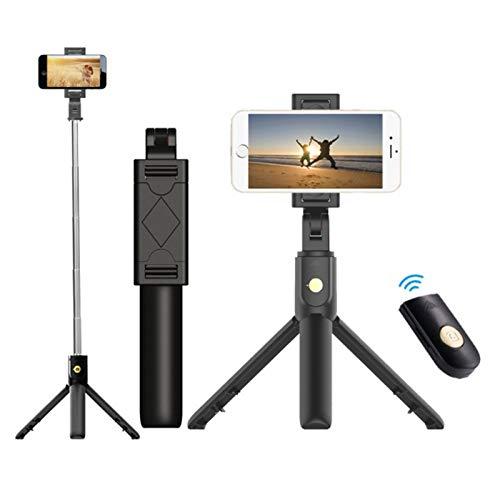 Adjustable Remote Selfie Stick Tripod Desktop Stand Desk Holder for Cell Phone Bluetooth Remote for Apple & Android Devices (Black)