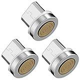 Vialex Adaptador/Enchufe/Cabezal/Enchufe de Punta magnética Micro USB de 3 Paquetes, Compatible con Samsung Galaxy Note S7 S6, Kindle y más Dispositivos USB C, SIN Cable