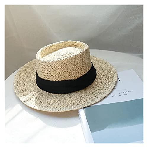 letaowl Sombrero para el Sol de Mujer Señoras Hechas a Mano Sombrero de Paja Natural de Verano Sombrero de Playa para Mujer Gorra Moda cóncavo Plano protetión Plano Visera Sol Barco Sombreros