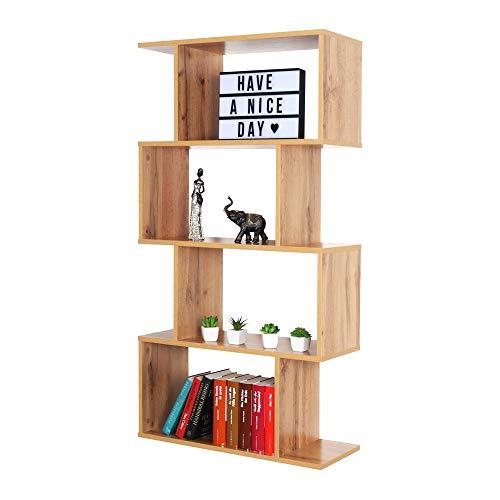 RICOO WM071-EW Estantería 129 x 70 x 25 cm Estante Librería Moderna Biblioteca Muebles de hogar Mueble almacenaje 4 Niveles Color Madera Roble marrón