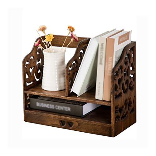 LYUN Librerías Retro Creativa estantería de Madera, Oficina de Escritorio Multifuncional Estante Decorativo de múltiples Capas Estante de Almacenamiento (Naturales de Madera del Color) estanterias