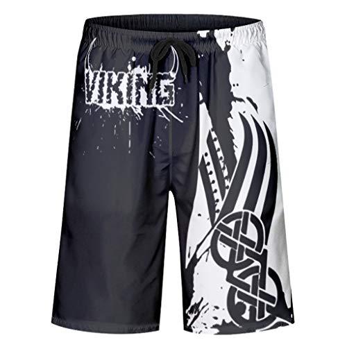 Toomjie blackblack Viking Trainingsshorts für Männer Premium Reisehosen White 6XL