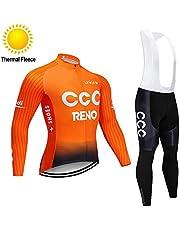 TOPBIKEB Jersey de Ciclismo para Hombre Mangas Largas, Térmico Conjunto Ropa Equipacion con Gel Culotes para otoño Invierno