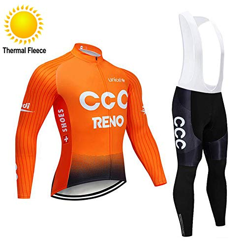 TOPBIKEB fietsbroek voor heren en jersey voor de winter, lange mouwen Warm Thermisch Fleece Fietskleding met zakken en reflecterende banden voor nachtfietsen