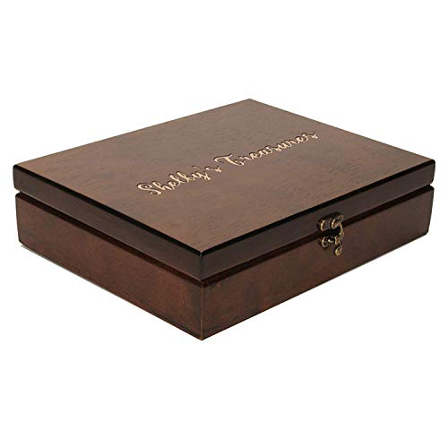 WE Games Custom Engraved Wooden Treasure Box with Lid & Brass Latch - Walnut Finish