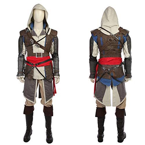 nihiug Assassin's Creed 4 Black Flag Jeu Complet Vêtements COS Tenue de Costume sous-vêtements Coupe-Vent Cosplay Vêtements complets,Brown-L(173to177)