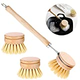 TABEST Beechwood Dish Washing Brush Long Handle Natural Scrub Brush Head Pot Brush Kitchen Supplies with 2 Pcs Replacement Brush Heads for Cleaning Dishes, Pans, Pots