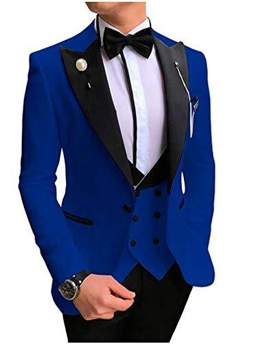 Men's 3 PC Royal Blue Notch Lapel Wedding Suits Slim Fit Groom Tuxedos Prom Suits Casual Suit Royal Blue 36 Chest / 30 Waist