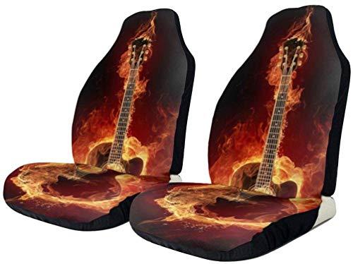 Romance-and-Beauty Fundas de Asiento de Coche Flaming Burning Guitar Fire Universal Fundas de Asiento Delantero Saddle Blanket Funda de Asiento Protectores para automóviles Camión SUV Van 2PCS