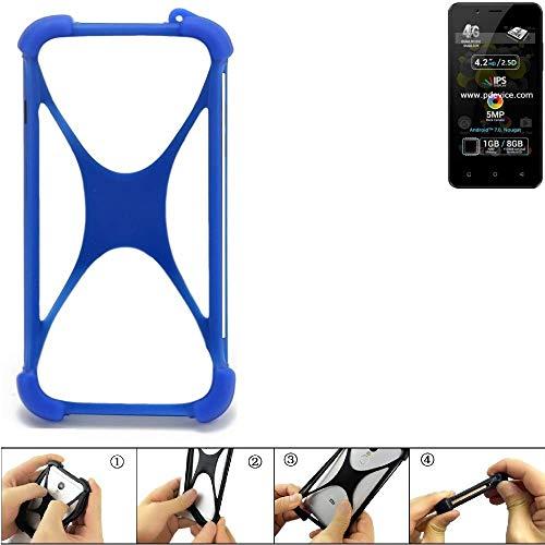 K-S-Trade Handyhülle Für Allview P4 Pro Silikon Schutz Hülle Cover Hülle Bumper Silikoncase TPU Softcase Schutzhülle Smartphone Stoßschutz, Blau (1x)