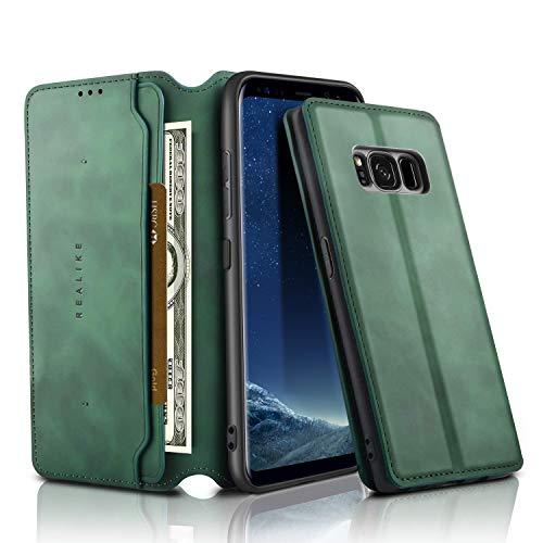 REALIKE für Samsung Galaxy S8 Leder Tasche Brieftasche Magnetverschluss Flip Hulle mit Standfunktion Kartenf?Cher & Bargeld Schutzhülle Hülle für M?nner & Frauen Gravel Green