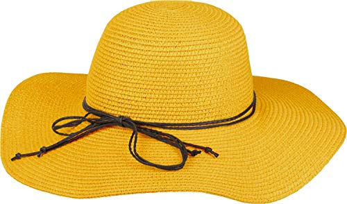 styleBREAKER Damen Strohhut mit schmalem Band und Schleife, Sonnenhut, Schlapphut, Sommerhut, Hut 04025012, Farbe:Gelb