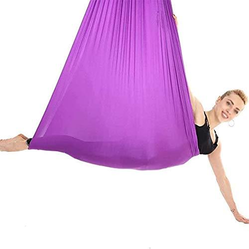 ZHL Hamaca de yoga suave para interiores y adultos, con columpio elástico para niños, integración sensorial de hasta 200 kg (color: morado, tamaño: 150 x 280 cm)