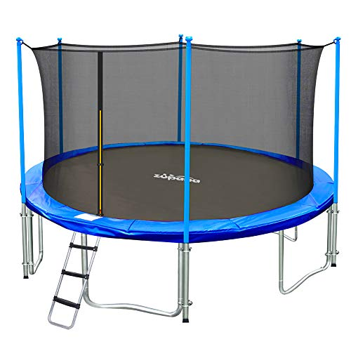 Zupapa 15ft 14ft 12ft 10ft Trampoline with Safety Enclosure Net Rain...